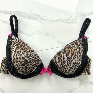 LA SENZA Leopard Print/Black Lace Push Up Bra 34A